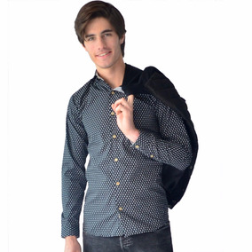 Camisa Casual Negra Con Detalle Blanco Slim Fit Rack   Pack ·   399 ddc08615a9e