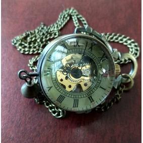 Reloj De Bolsillo Redondo Vintage Dorado Mecanico De Cuerda
