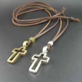 Colar Cordão Masculino Feminino Crucifixo Metal E Couro Pu