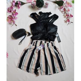 Conjunto Cropped Shorts Bolsinha Moda Baladinha + Brinde