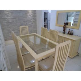 Sala De Jantar Em Mdf: Mesa,6 Cadeiras,bufet E Espelho.