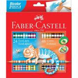 Lápis De Cor Bicolor Faber Castell Com 24 Lápis 48 Cores
