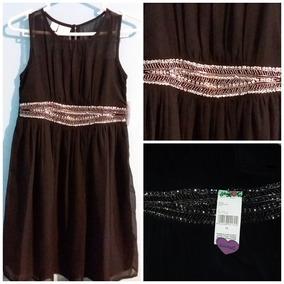 40687dfd4b Vestido De Fiesta, Color Negro Con Aplicaciones De Pedrería