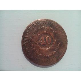 Moeda 80 Réis Com Carimbo De 40 Cobre Império 1832