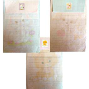 3 Conjuntos Papel De Carta+envelope Bichinhos Fofos Lote 52