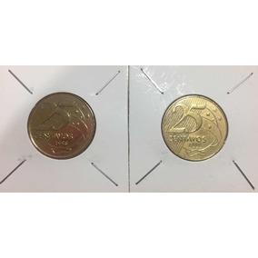 25 Centavos 1998 E 1999 De Real- Difíceis . Em Bom Estado