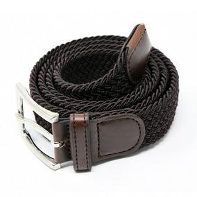 Cinturon Hombre Trensado Elastico Corda Verano Cafe 06