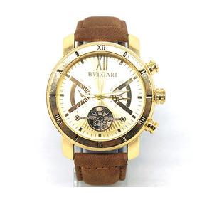 Relógio Masculino/unisex Bvlgari Couro Dourado E Marrom