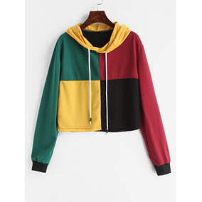 Ropa Zaful Checked Color Block Hoodie