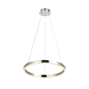 Lámpara Led 25w 3000k Colgante Circular Color Cromado