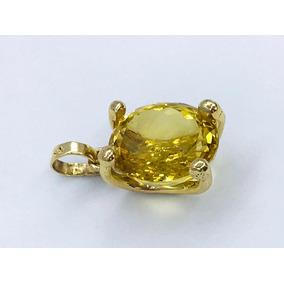Precioso Dije Con Hermosa Citrina Amarilla Oro De 10k Y 5 Gr