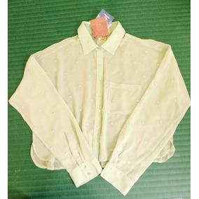 Camisa Curta Manga Longa Em Musselina Com Poa - Farm Tam. M