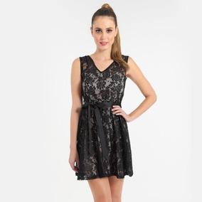 Vestido negro encaje mujer