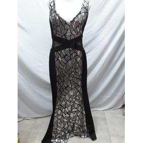 Vestidos de noche largos negro con plata