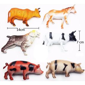 Kit 6 Animais De Borracha Fazenda Vaca Bode Cavalo Porco E +