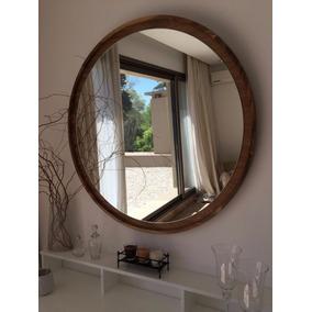 Espejos redondos con marco de madera espejos en mercado for Espejos redondos con marco de madera