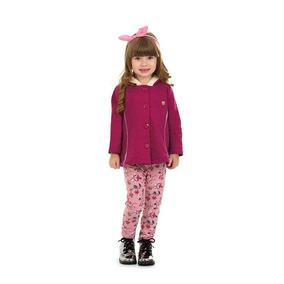 Conjunto Feminino Infantil Capuz Moletom Botone Leg 1 Ao 3