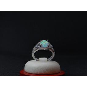 Hermoso Anillo De Plata 925 Con Opalo Y Cristales 82b36b5
