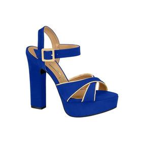 Sandália Feminina Vizzano Salto Grosso Azul 6305114