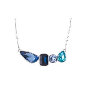 Nice Collar Con Baño Rodio Y Cristales Azules Envio Gratis!