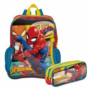 Kit Mochila Escolar Infantil Spider Man + Estojo Vintage Ses