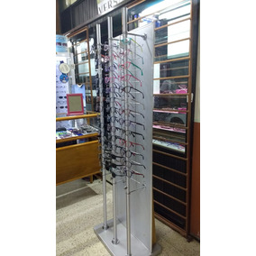 Exhibidor De Lentes Torre Aluminio 42l Con Chapa Piso E125
