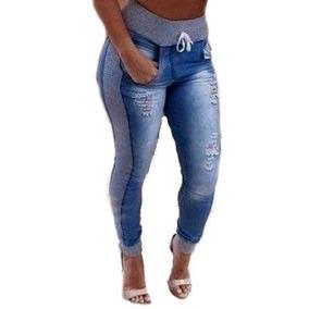 22a6c60fcb Kit 2 Calça Jeans Feminina Com Moletom Nas Laterais Lycra
