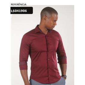 Camisa Slim Fit Com 100% Algodão Vermelho