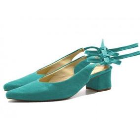 Sandália Feminina Chanel Com Laço Azul Turquesa