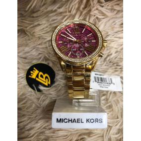 ce8a9f25106f1 Relogio Michael Kors Com Fundo Rosa Com Strass Original - Relógios ...