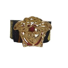 Cinturon Versace Unisex Unitalla Ajustable Piel Casual Negro