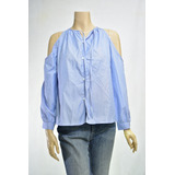 Camisa Blusa De Dama Sin Hombros A Rayas Azules Y Blancas 8621506777c