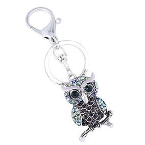 Cute Owl Keychain Crystal Diamond Keyring Mini Decoracion Pa