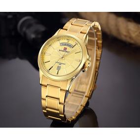 Relógio Masculino Naviforce Lindo Dourado Prata Frete Grátis