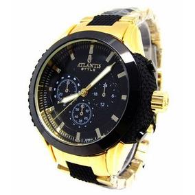 b28d52c1232 Relógio Atlantis Dourado Com Fundo Preto - Relógios De Pulso no ...