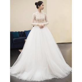 Vestido De Noiva Princesa Evangélica Decote Luxo Pedras 39