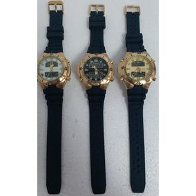 Kit C/03 Relógios Aqualand Preto, Branco, Dourado Original