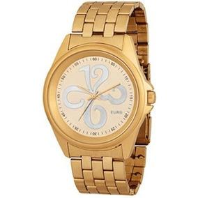 Relógio Euro Números Dourado