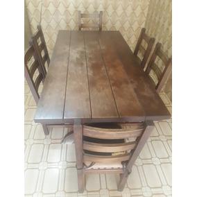 Mesa De Jantar Com 6 Cadeiras Em Madeira Rustica
