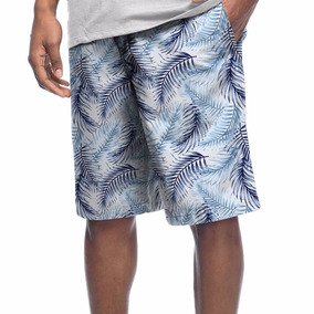 Bermuda Short Pattern Folhagem Verão Praia Tropical Palmeira