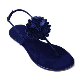 Sandália Flat Feminina Mercedita Shoes Verniz Flor Marinho