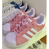 timeless design 85b12 8e2e7 Zapatillas adidas Superstar Rosas Tiras Blancas