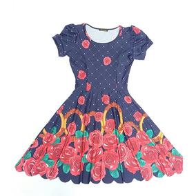 Vestido Boneca Princesa Estampado Moda Evangelica Rodado