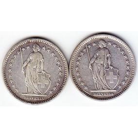 Suiza. 2 Monedas De 2 Francos 1906 Y 1907. Plata 835.