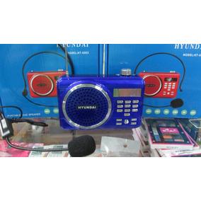 Radio Reproducto Corneta Hyundaifm Recargable Usb Microfono