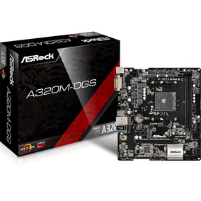 Placa-mãe Asrock A320m-dgs Amd Am4 Ddr4 Dvi-d P/ Athlon