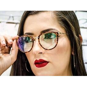Óculos Feminino Armação Redonda-retrô Marrom Leopardo Barato accb3946a1