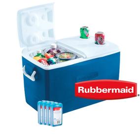 Heladera Rubbermaid 47lts Con Tapa Dividida + Packs De Hielo