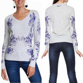 Suéter Desigual Gris Mantras Mujer