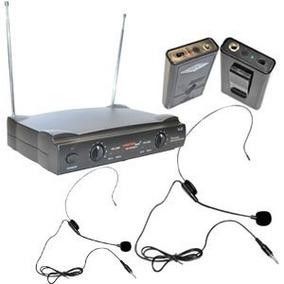 Set Kit 2 Microfonos Inalambricos Diadema 50m Alcance Master